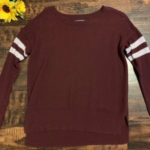 Maroon American Eagle Striped Sleeve Sweater